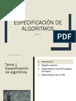 Tema 1 Especificacion de Algoritmos
