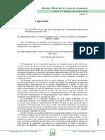 Ley Presupuestos 2019 junta Andalucia