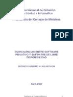 Equivalencia Software Privativo Software Libre