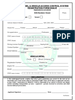 E Tag Form for DHA Resident F E