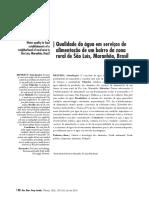 Qualidade da água em serviços de alimentação de um bairro da zona rural de São Luís, Maranhão, Brasil