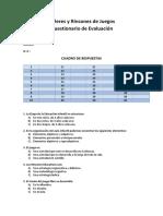 Cuestionario de Evaluación - Talleres y Rincones de Juego