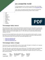 Test Manager Salary Around the World