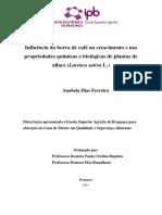 Influência da borra de café no crescimento e nas propriedades químicas e biológicas de plantas de alface (Lactuca sativa L.)