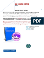 Project Report on Disposable Plastic Syringe (Ayurvedic - herbal Pharmacy & Cosmetic Products)