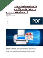 Cómo Activar o Desactivar La Impresora Microsft Print to PDF en Windows 10