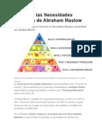 Teoría de Las Necesidades Humanas de Abraham Maslow