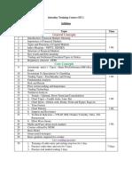 IntradayTraining Course (ITC) - Syllabus