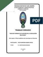 Nuevas Formas de Filiacion en Bolivia