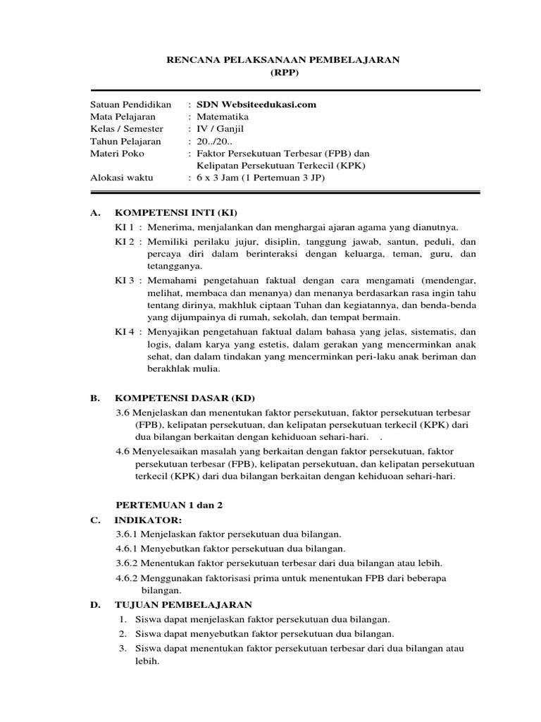 6 Rpp Kd 3 6 4 6 Mtk Kelas 4 Fpb Kpk Websiteedukasi Com Docx