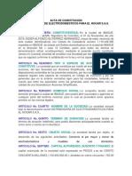 Acta de Constitución Distrihogar s.a.s.