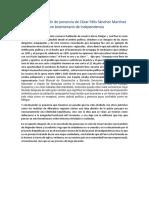 Resumen y Opinión de Ponencia de César Félix Sánchez Martínez Sobre Bicentenario de Independencia