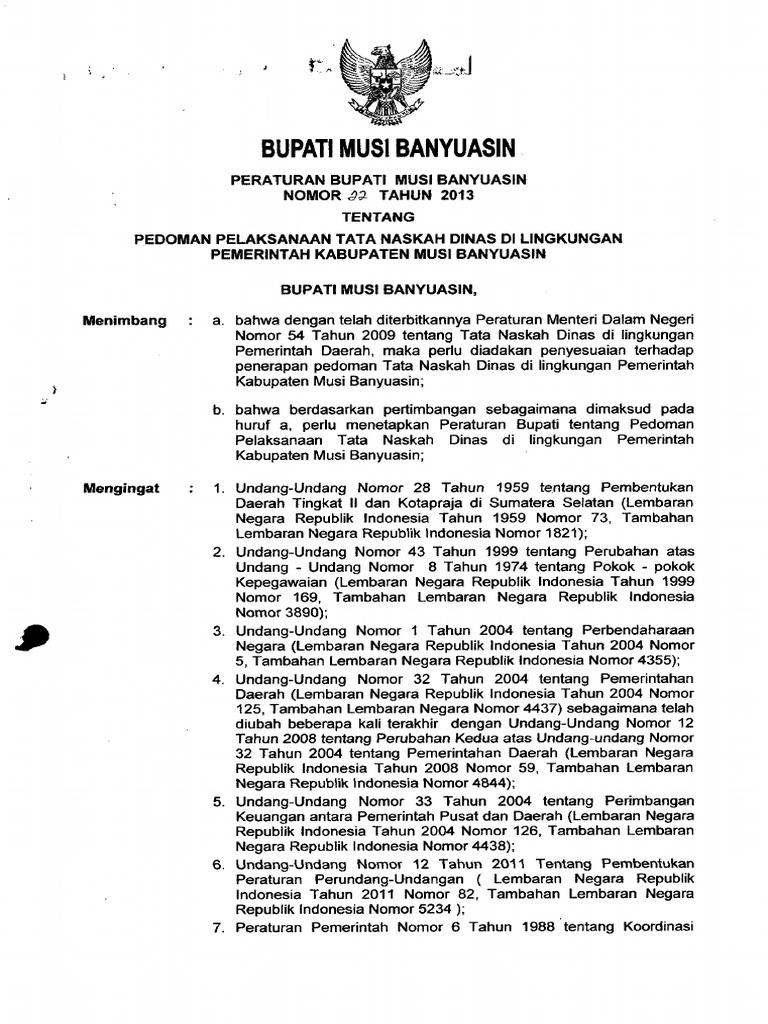 Perbup No 22 Tahun 2013 Tentang Pedoman Pelaksanaan Tata Naskah Dinas Di Lingkungan Kab Muba Pdf