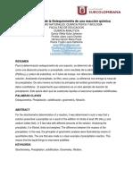 Determinación de La Estequiometría de Una Reacción Química.