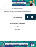 Evidencia 12.6 Programa de Capacitación en Comunicación Asertiva