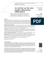 A Literature Review on Lot Size With Quantity Discounts