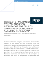 Boletín 010 - MIGRANTES VENEZOLANOS SON RECLUTADOS POR GRUPOS ARMADOS EN LA FRONTERA COLOMBO-VENEZOL