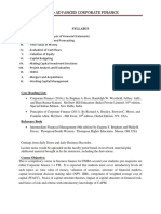 Course Outline Advanced Corporate Finance 2019