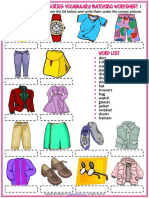 Clothes and Accessories Vocabulary Esl Matching Exercise Worksheets for Kids (1)
