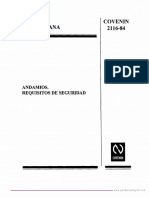 Andamios Requisitos - COVENIN 2116-84