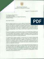 Carta de Duque al papa Francisco