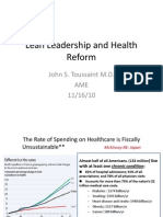 Healthcare Reform and Lean Leadership Keynote