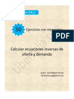 50 Ejercicios Calcular Ecuaciones Inversas de Oferta y Demanda - Vicuña, José Miguel