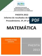 Informe de Resultado de Los Tems de Procedimientos de 3 6 y 9 Grados de Matemtica - Paesita 2012