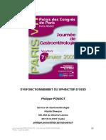 DYSFONCTIONNEMENT DU SPHINCTER D'ODDI 2005
