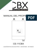 Manual Calentador de Agua CBX