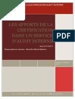 Les Apports de La Certification Dans Un Services d'Audit Interne