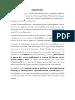 Tarjeta informativa UIF sobre bloqueo a Medina Mora