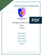 Class 12 CBSE Physics Investigatory Project on Friction