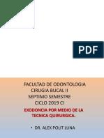 Cirugia Bucal II 2019 CI. Quinta Clase. Tecnica de Exodoncia.