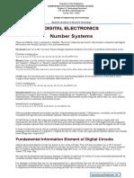 Digital Electronics Number System Instructional Materials