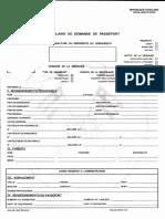 Formulaire de Demande Du Passeport