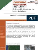 Potencial de Licuaci+¦n Din+ímica en Presas de Relaves-Ing. Paul J. Pinedo Vilcahuam+ín