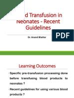 The blood transfusion protocol. Latest