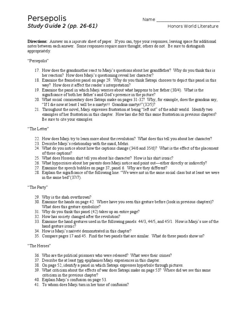 persepolis study guide 2 rh es scribd com persepolis study guide answers persepolis study guide answer key quizlet