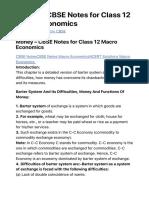 Money - CBSE Notes for Class 12 Macro Economics - Learn CBSE