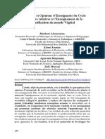 Perceptions et Opinions d'Enseignants du Cycle Secondaire relatives à l'Enseignement de la Classification du monde Végétal