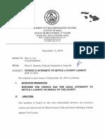 Memorandum, Council's Authority to Settle a County Lawsuit (Sep. 16, 2019)