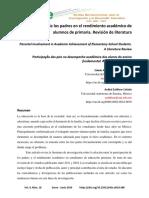 Participación de Los Padres en El Rendimiento Académico de Alumnos de Primaria. Revisión de Literatura