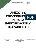 Anexo 14. (Procedimiento Trazabilidad) Manual de calidad