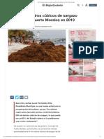 Van 93 mil metros cúbicos de sargazo retirados de Puerto Morelos en 2019, El Siglo Coahuila