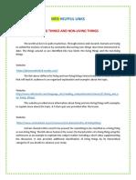 Living & Non Living Things Web Helpful Links