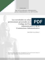 Las novedades en relación con las pretensiones procesales en la Ley 1437 Código de Procedimiento Administrativo y de lo Contencioso Administrativo. Correa Palacio.