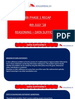 RBI Phase 1 Recap 4th July 18 Reasoning Data Sufficiency