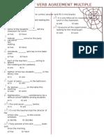 Subject Verb Agreement Multiple Choice Exercises Worksheet Grade 7_2