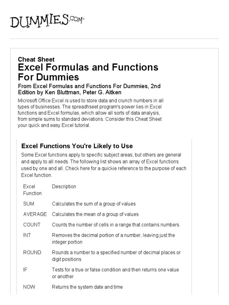 excel formulas for dummies   Microsoft Excel   Spreadsheet